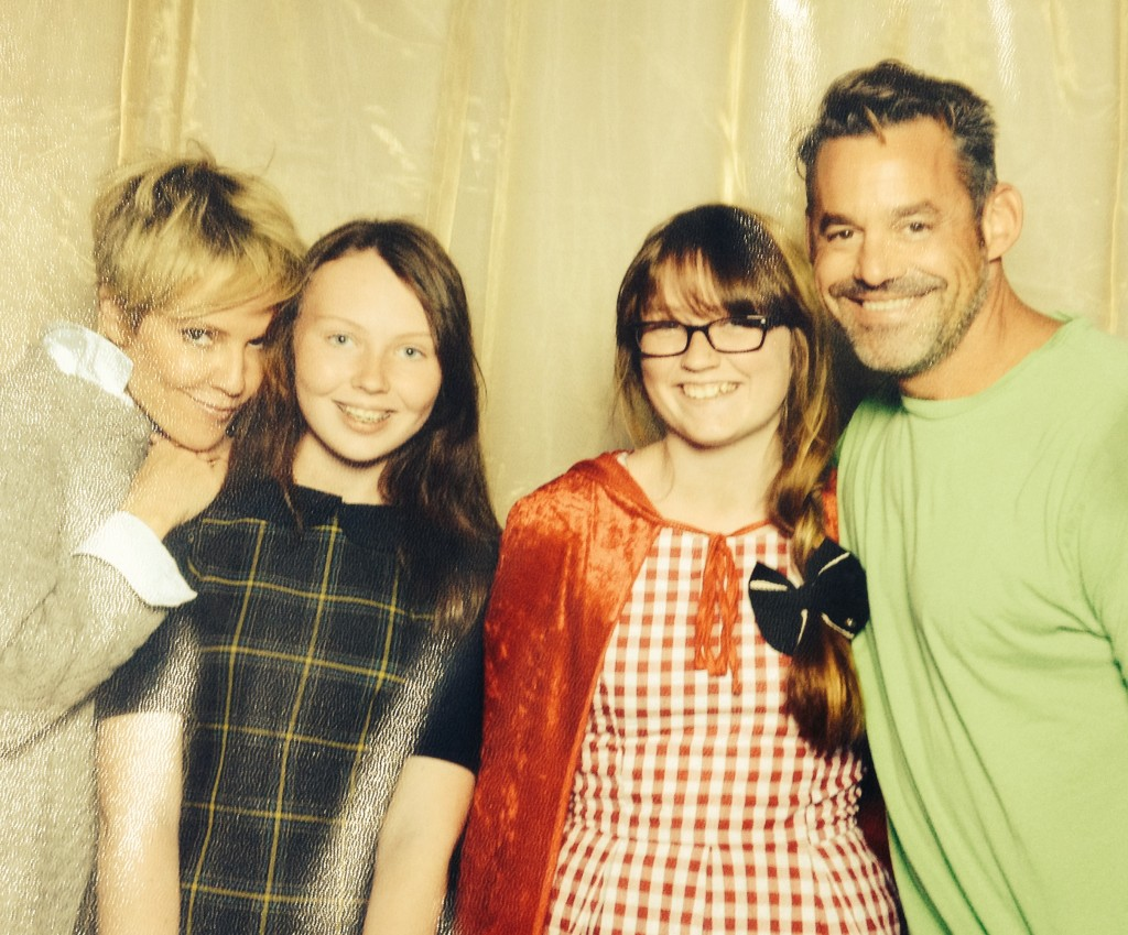 Emma Caulfield and Nicholas Brendon from Buffy, posing with the girls.