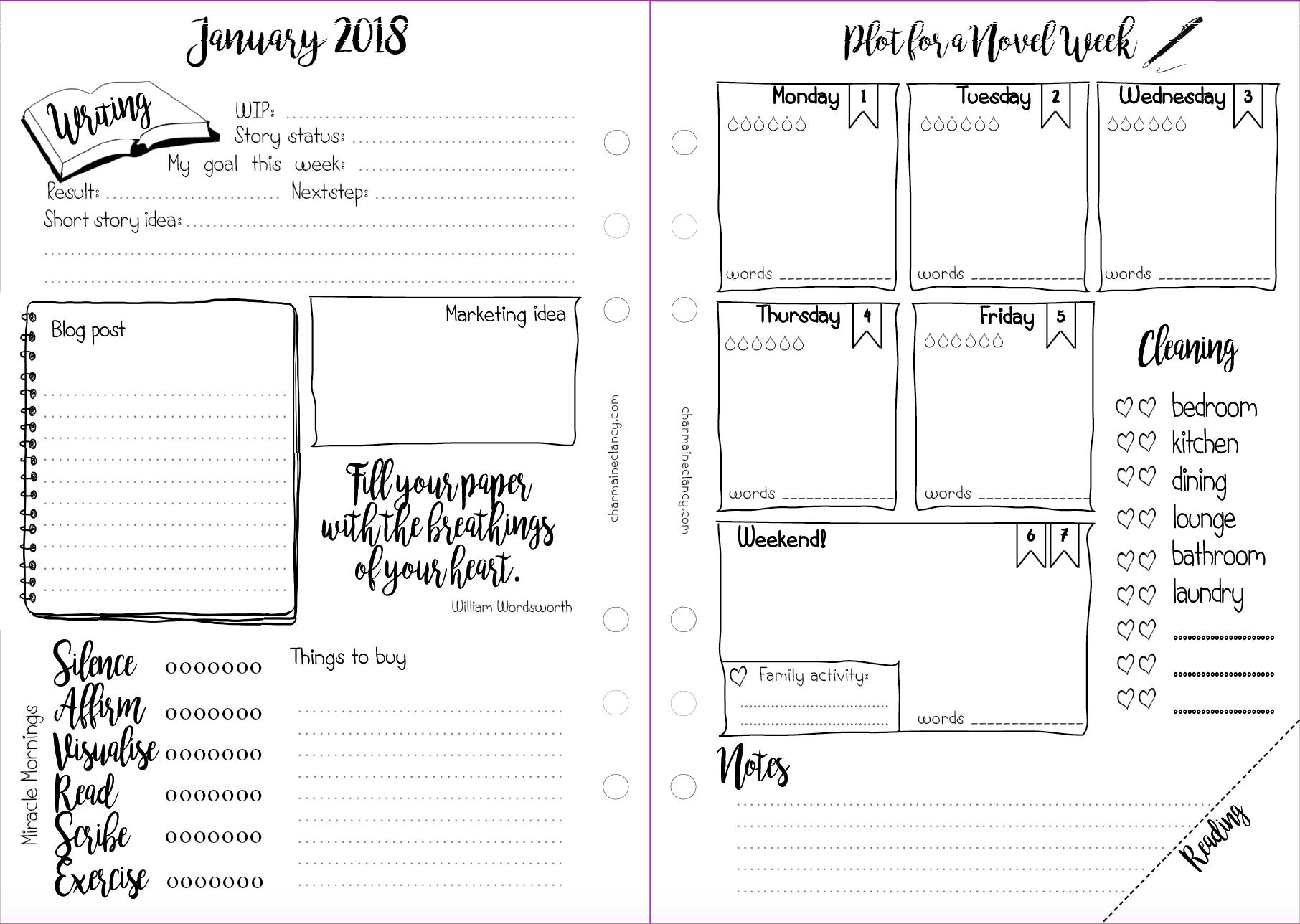 free 2018 planner